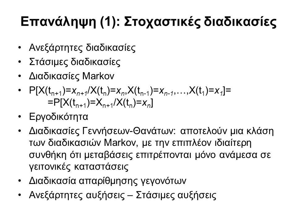 Επανάληψη (1): Στοχαστικές διαδικασίες Ανεξάρτητες διαδικασίες Στάσιμες διαδικασίες Διαδικασίες Markov P[X(t n+1 )=x n+1 /X(t n )=x n,X(t n-1 )=x n-1,