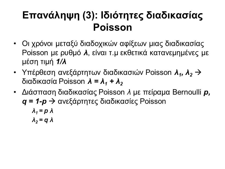 Επανάληψη (3): Ιδιότητες διαδικασίας Poisson Οι χρόνοι μεταξύ διαδοχικών αφίξεων μιας διαδικασίας Poisson με ρυθμό λ, είναι τ.μ εκθετικά κατανεμημένες