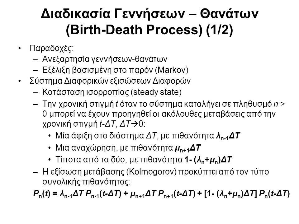 Διαδικασία Γεννήσεων – Θανάτων (Birth-Death Process) (2/2) Στο όριο, ΔΤ  dt: [P n (t) - P n (t-dt)]/dt = λ n-1 P n-1 (t) + μ n+1 P n+1 (t) – (λ n +μ n )P n (t) ή d P n (t)/dt = λ n-1 P n-1 (t) + μ n+1 P n+1 (t) – (λ n +μ n )P n (t) και σε σταθερή κατάσταση t  οο (αν υπάρχει) : P n (t) = P n : Εργοδικές Πιθανότητες (λ n +μ n )P n = λ n-1 P n-1 + μ n+1 P n+1 (εξισώσεις ισορροπίας)