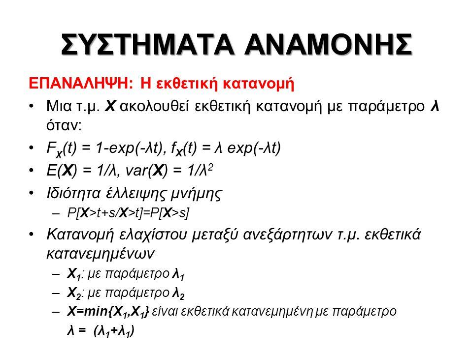 ΣΥΣΤΗΜΑΤΑ ΑΝΑΜΟΝΗΣ ΕΠΑΝΑΛΗΨΗ: Στοχαστικές διαδικασίες Ανεξάρτητες διαδικασίες Στάσιμες διαδικασίες Διαδικασίες Markov P[X(t n+1 )=x n+1 /X(t n )=x n,X(t n-1 )=x n-1,…,X(t 1 )=X 1 ]= =P[X(t n+1 )=X n+1 /X(t n )=x n ] Εργοδικότητα Διαδικασίες Γεννήσεων-Θανάτων: αποτελούν μια κλάση των διαδικασιών Markov, με την επιπλέον ιδιαίτερη συνθήκη ότι μεταβάσεις επιτρέπονται μόνο ανάμεσα σε γειτονικές καταστάσεις Διαδικασία απαρίθμησης γεγονότων Ανεξάρτητες αυξήσεις – Στάσιμες αυξήσεις