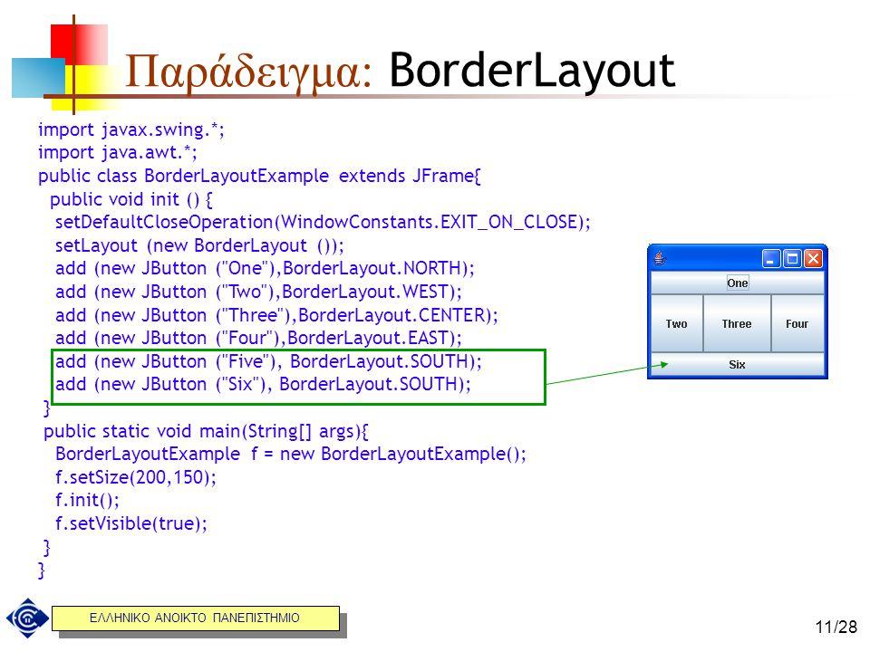 ΕΛΛΗΝΙΚΟ ΑΝΟΙΚΤΟ ΠΑΝΕΠΙΣΤΗΜΙΟ 11/28 Παράδειγμα: BorderLayout import javax.swing.*; import java.awt.*; public class BorderLayoutExample extends JFrame{