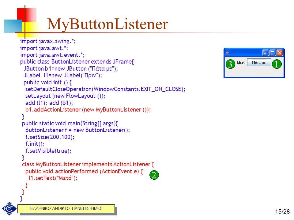 ΕΛΛΗΝΙΚΟ ΑΝΟΙΚΤΟ ΠΑΝΕΠΙΣΤΗΜΙΟ 15/28 MyButtonListener import javax.swing.*; import java.awt.*; import java.awt.event.*; public class ButtonListener ext