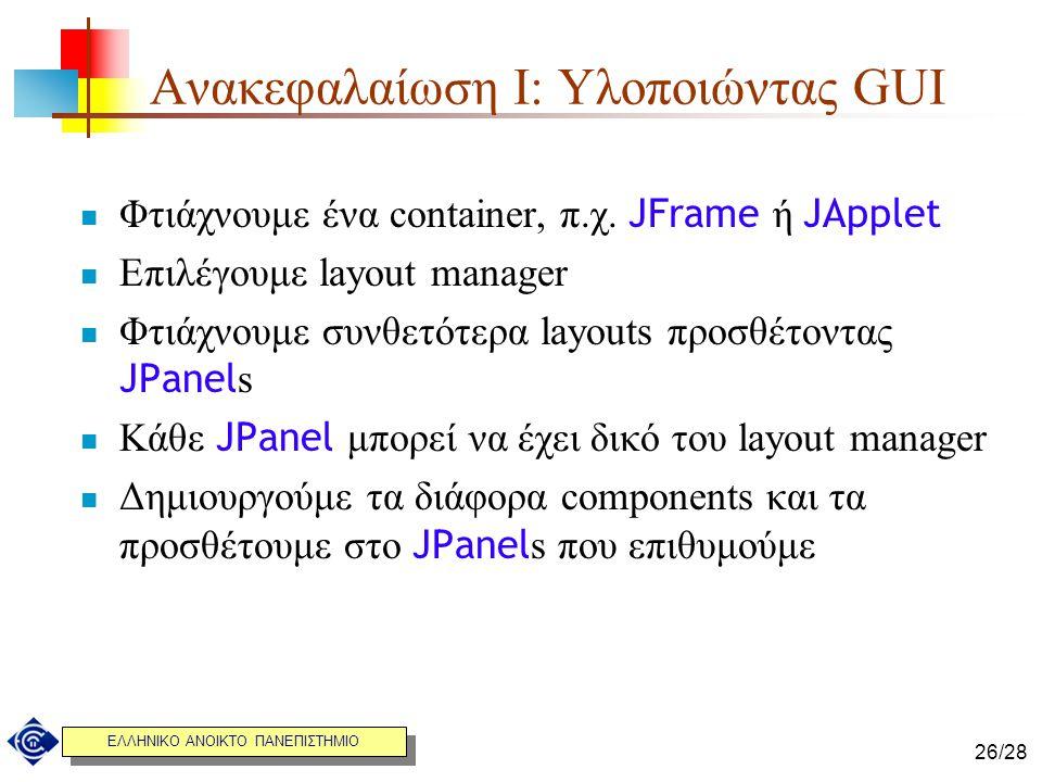 ΕΛΛΗΝΙΚΟ ΑΝΟΙΚΤΟ ΠΑΝΕΠΙΣΤΗΜΙΟ 26/28 Ανακεφαλαίωση I: Υλοποιώντας GUI Φτιάχνουμε ένα container, π.χ. JFrame ή JApplet Επιλέγουμε layout manager Φτιάχνο