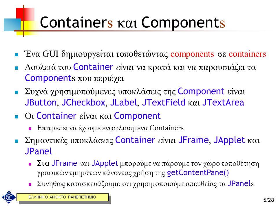 ΕΛΛΗΝΙΚΟ ΑΝΟΙΚΤΟ ΠΑΝΕΠΙΣΤΗΜΙΟ 5/28 Container s και Component s Ένα GUI δημιουργείται τοποθετώντας components σε containers Δουλειά του Container είναι