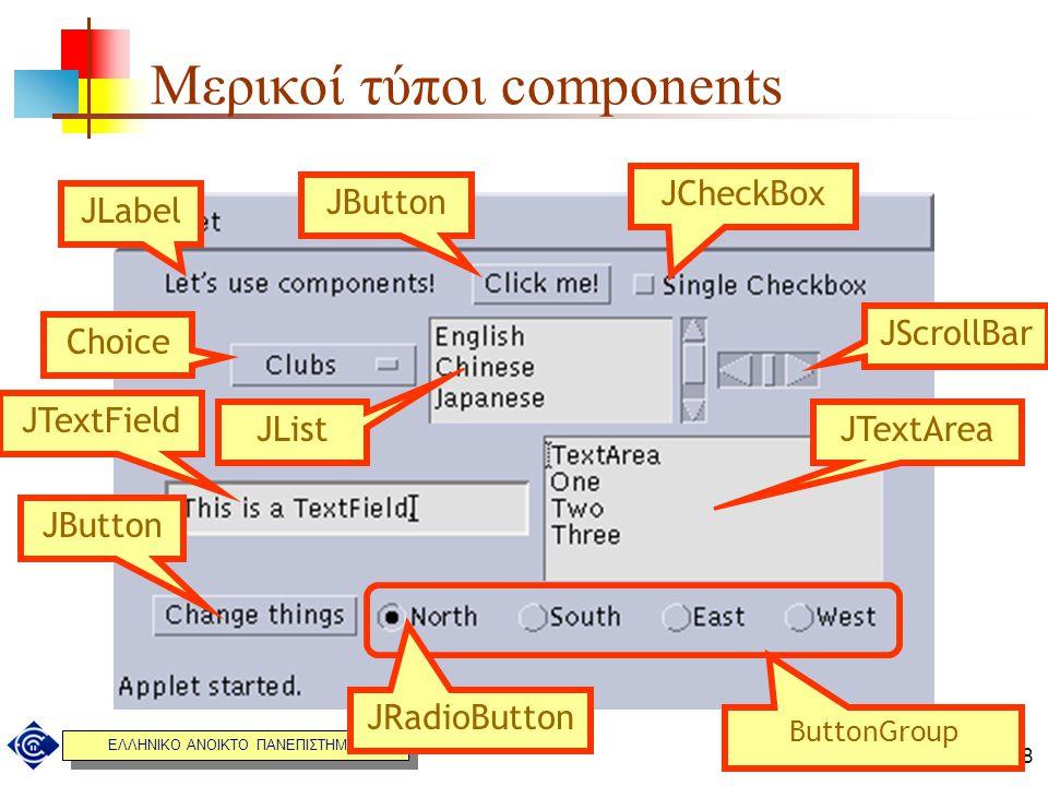 ΕΛΛΗΝΙΚΟ ΑΝΟΙΚΤΟ ΠΑΝΕΠΙΣΤΗΜΙΟ 8/28 Μερικοί τύποι components JLabel JButton JCheckBox Choice JList JScrollBar JTextField JTextArea ButtonGroup JRadioBu