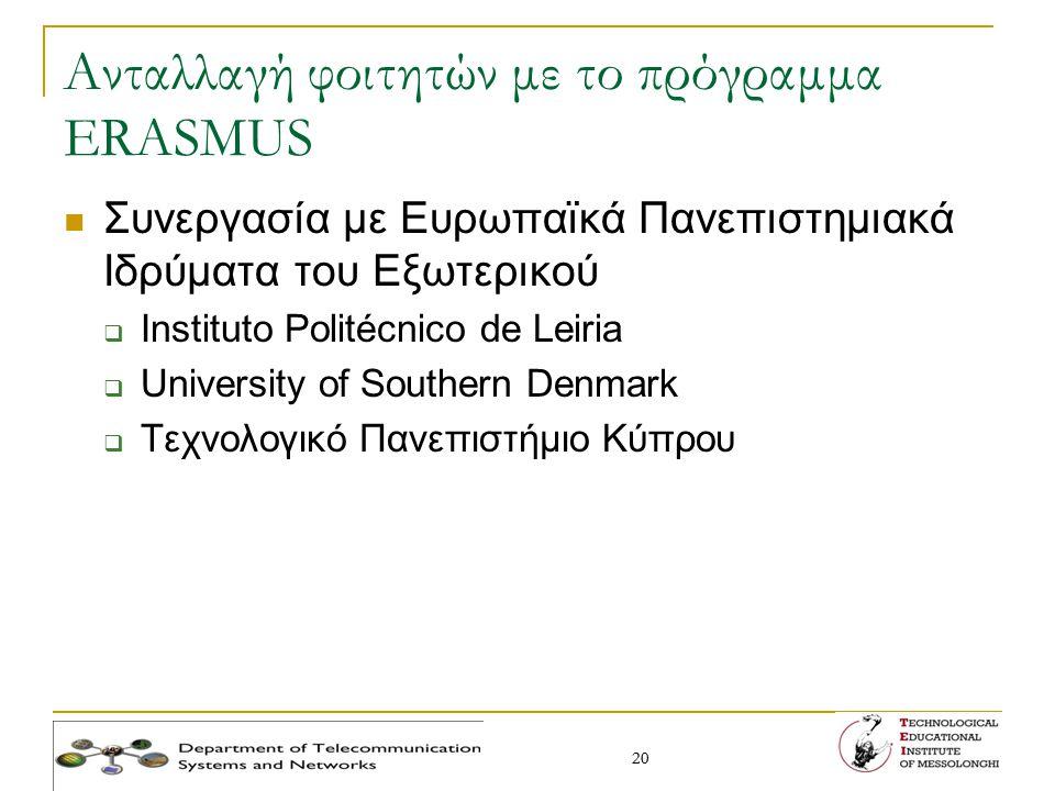 20 Ανταλλαγή φοιτητών με το πρόγραμμα ERASMUS Συνεργασία με Ευρωπαϊκά Πανεπιστημιακά Ιδρύματα του Εξωτερικού  Instituto Politécnico de Leiria  Unive