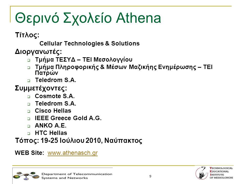 9 9 Θερινό Σχολείο Athena Τίτλος: Cellular Technologies & Solutions Διοργανωτές:  Τμήμα ΤΕΣΥΔ – ΤΕΙ Μεσολογγίου  Τμήμα Πληροφορικής & Μέσων Μαζικήης