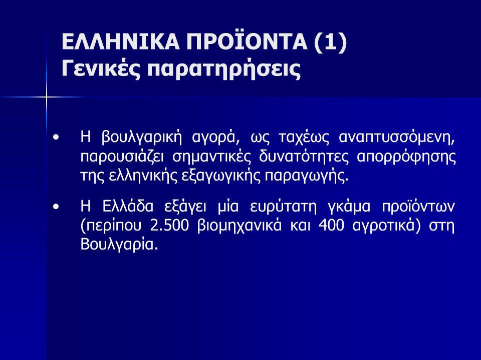 ΕΛΛΗΝΙΚΑ ΠΡΟΪΟΝΤΑ (1) Γενικές παρατηρήσεις Η βουλγαρική αγορά, ως ταχέως αναπτυσσόμενη, παρουσιάζει σημαντικές δυνατότητες απορρόφησης της ελληνικής ε