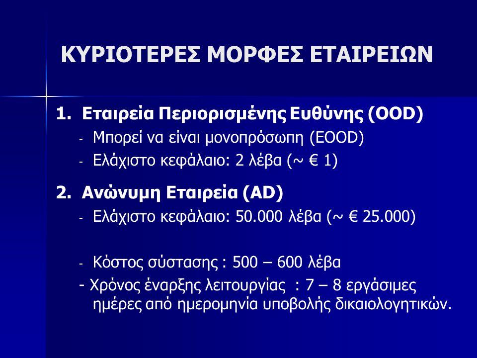 ΚΥΡΙΟΤΕΡΕΣ ΜΟΡΦΕΣ ΕΤΑΙΡΕΙΩΝ 1. Εταιρεία Περιορισμένης Ευθύνης (OOD) - - Μπορεί να είναι μονοπρόσωπη (EOOD) - - Ελάχιστο κεφάλαιο: 2 λέβα (~ € 1) 2. Αν