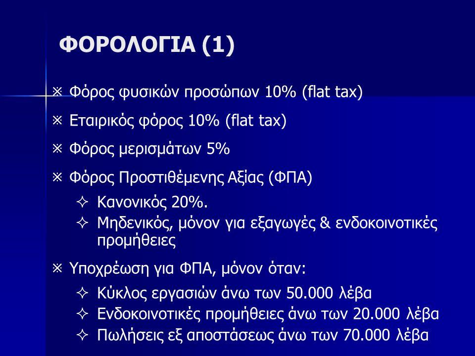 ΦΟΡΟΛΟΓΙΑ (1)   Φόρος φυσικών προσώπων 10% (flat tax)   Εταιρικός φόρος 10% (flat tax)   Φόρος μερισμάτων 5%   Φόρος Προστιθέμενης Αξίας (ΦΠΑ)