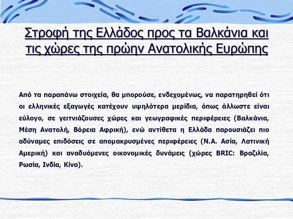 Από τα παραπάνω στοιχεία, θα μπορούσε, ενδεχομένως, να παρατηρηθεί ότι οι ελληνικές εξαγωγές κατέχουν υψηλότερα μερίδια, όπως άλλωστε είναι εύλογο, σε γειτνιάζουσες χώρες και γεωγραφικές περιφέρειες (Βαλκάνια, Μέση Ανατολή, Βόρεια Αφρική), ενώ αντίθετα η Ελλάδα παρουσιάζει πιο αδύναμες επιδόσεις σε απομακρυσμένες περιφέρειες (Ν.Α.