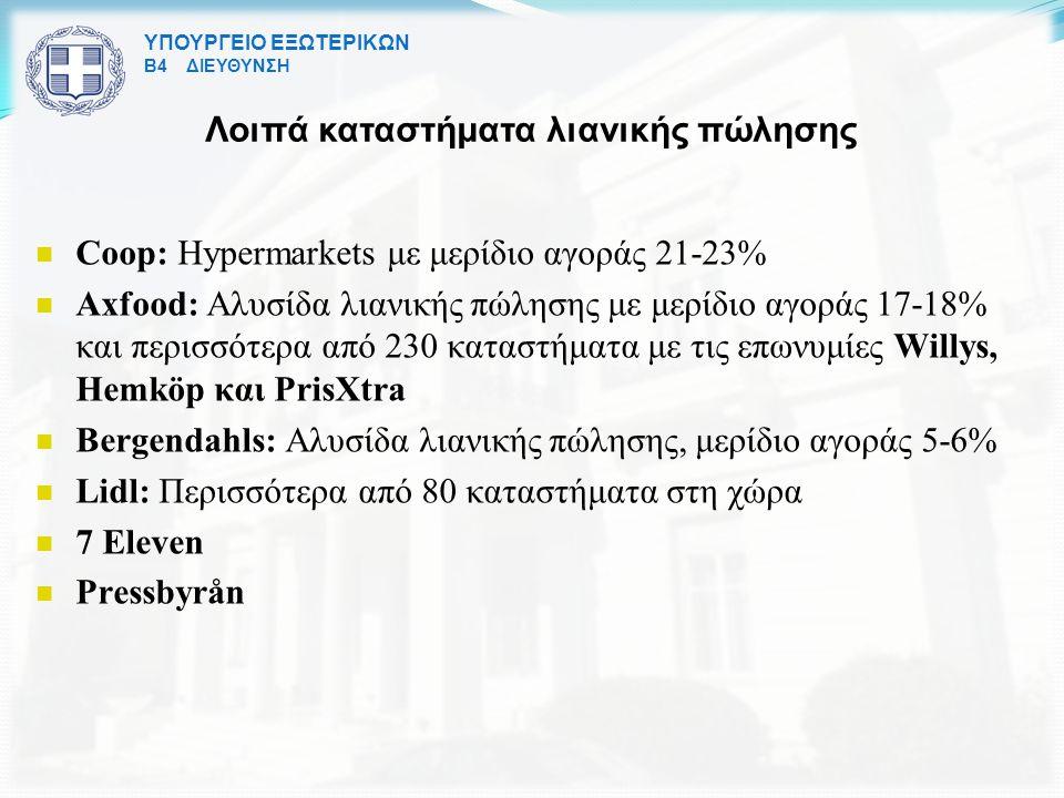 ΥΠΟΥΡΓΕΙΟ ΕΞΩΤΕΡΙΚΩΝ Β4 ΔΙΕΥΘΥΝΣΗ Λοιπά καταστήματα λιανικής πώλησης Coop: Hypermarkets με μερίδιο αγοράς 21-23% Axfood: Aλυσίδα λιανικής πώλησης με μερίδιο αγοράς 17-18% και περισσότερα από 230 καταστήματα με τις επωνυμίες Willys, Hemköp και PrisXtra Bergendahls: Aλυσίδα λιανικής πώλησης, μερίδιο αγοράς 5-6% Lidl: Περισσότερα από 80 καταστήματα στη χώρα 7 Eleven Pressbyrån