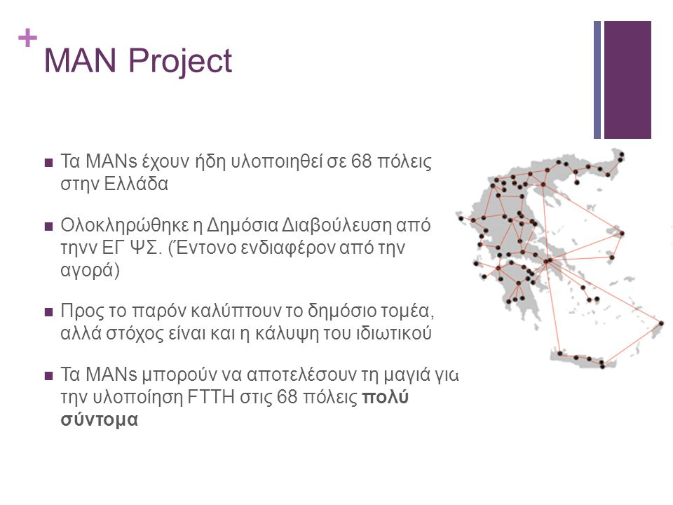 + MAN Project Τα ΜΑΝs έχουν ήδη υλοποιηθεί σε 68 πόλεις στην Ελλάδα Ολοκληρώθηκε η Δημόσια Διαβούλευση από τηνν ΕΓ ΨΣ. (Έντονο ενδιαφέρον από την αγορ