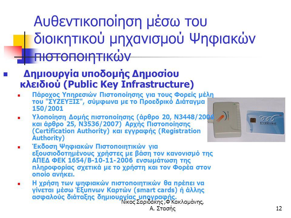 Νίκος Σαριδάκης,Φ Κακλαμάνης, Α. Στασής12 Αυθεντικοποίηση μέσω του διοικητικού μηχανισμού Ψηφιακών πιστοποιητικών Δημιουργία υποδομής Δημοσίου κλειδιο