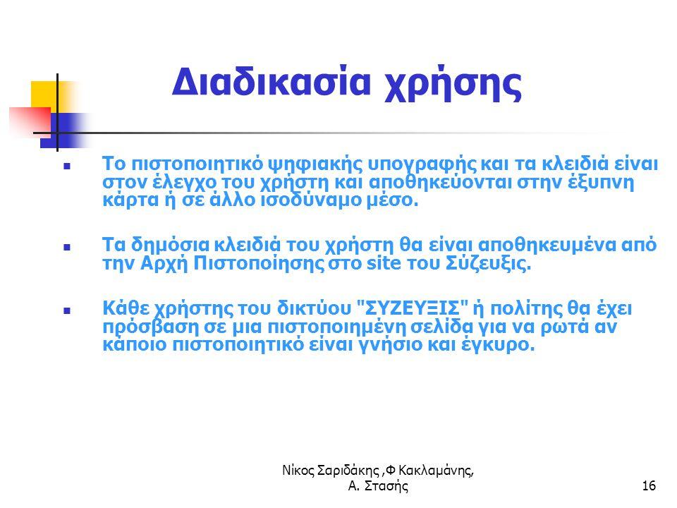 Νίκος Σαριδάκης,Φ Κακλαμάνης, Α. Στασής16 Διαδικασία χρήσης Το πιστοποιητικό ψηφιακής υπογραφής και τα κλειδιά είναι στον έλεγχο του χρήστη και αποθηκ