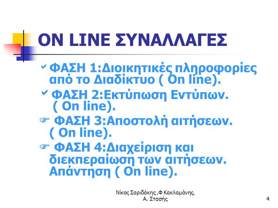 Νίκος Σαριδάκης,Φ Κακλαμάνης, Α. Στασής4 ON LINE ΣΥΝΑΛΛΑΓΕΣ  ΦΑΣΗ 1:Διοικητικές πληροφορίες από το Διαδίκτυο ( On line).  ΦΑΣΗ 2:Εκτύπωση Εντύπων. (