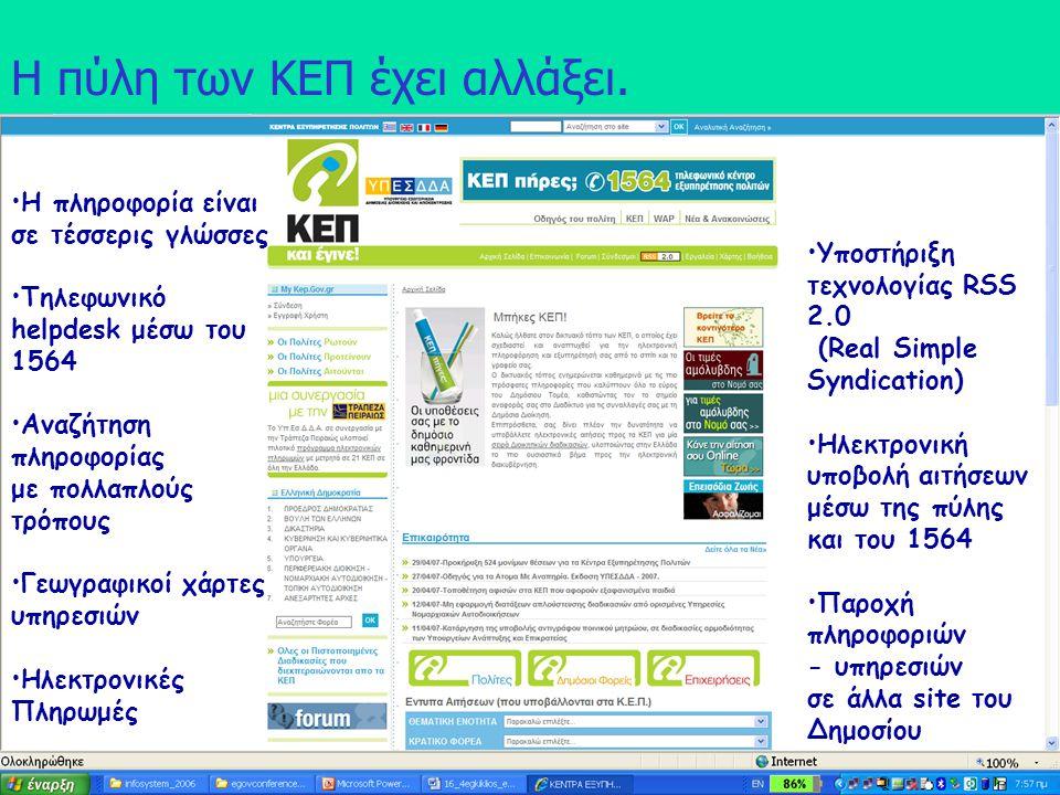 Νίκος Σαριδάκης,Φ Κακλαμάνης, Α. Στασής5 Η πύλη των ΚΕΠ έχει αλλάξει. Η πληροφορία είναι σε τέσσερις γλώσσες Τηλεφωνικό helpdesk μέσω του 1564 Αναζήτη