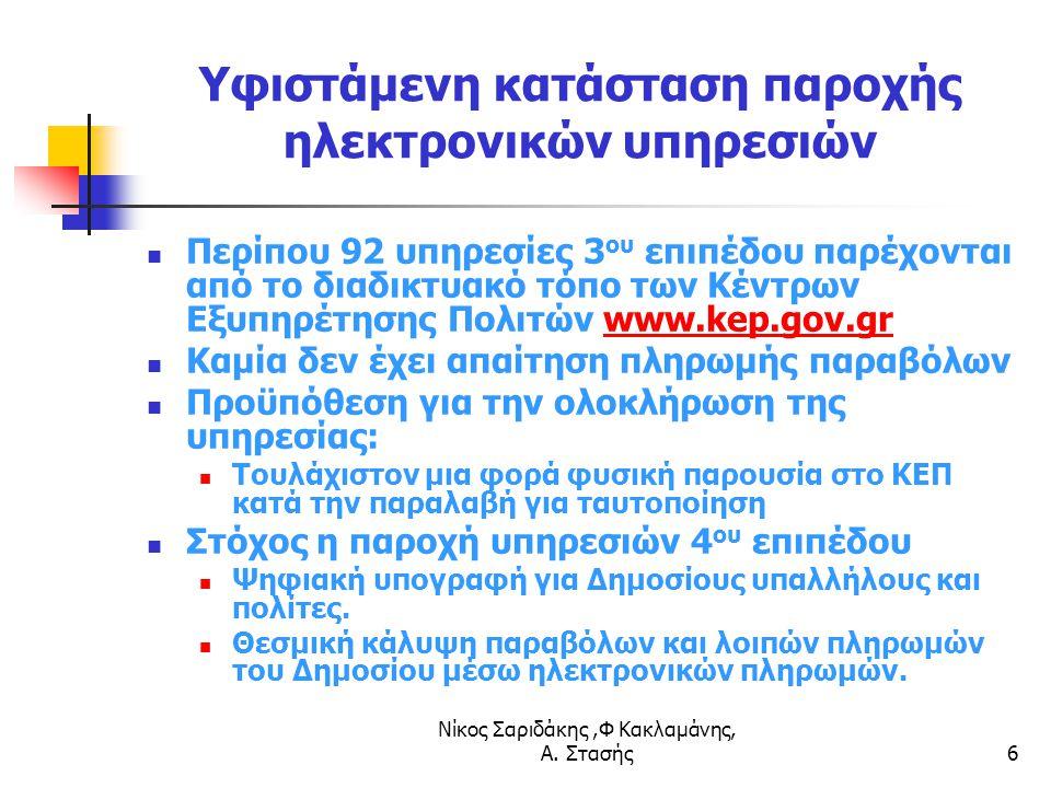 Νίκος Σαριδάκης,Φ Κακλαμάνης, Α. Στασής6 Υφιστάμενη κατάσταση παροχής ηλεκτρονικών υπηρεσιών Περίπου 92 υπηρεσίες 3 ου επιπέδου παρέχονται από το διαδ
