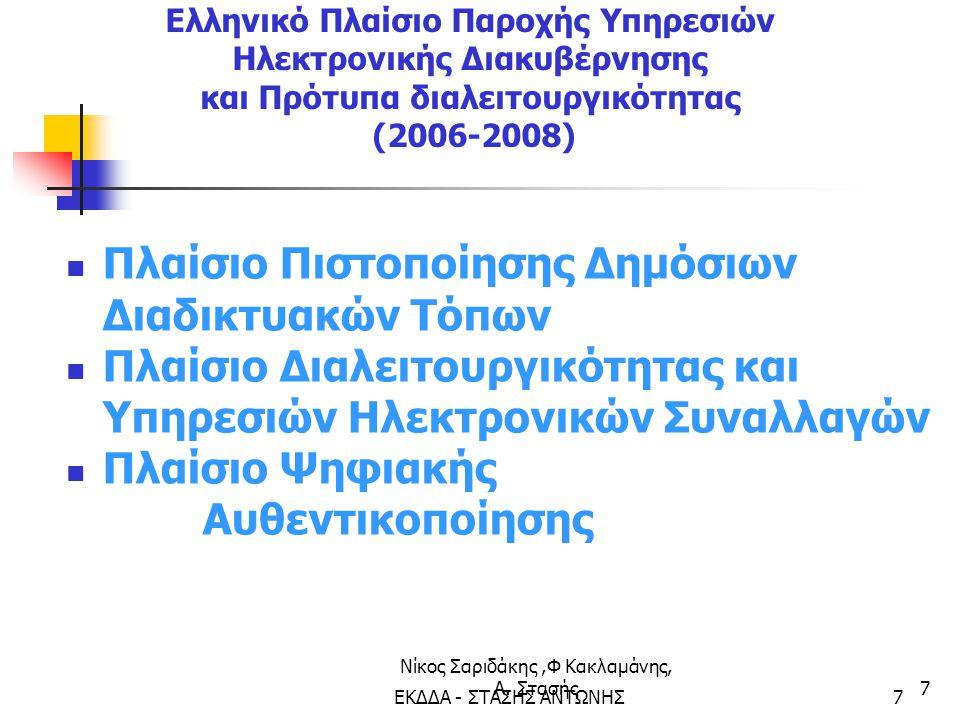 Νίκος Σαριδάκης,Φ Κακλαμάνης, Α. Στασής7 Ελληνικό Πλαίσιο Παροχής Υπηρεσιών Ηλεκτρονικής Διακυβέρνησης και Πρότυπα διαλειτουργικότητας (2006-2008) Πλα
