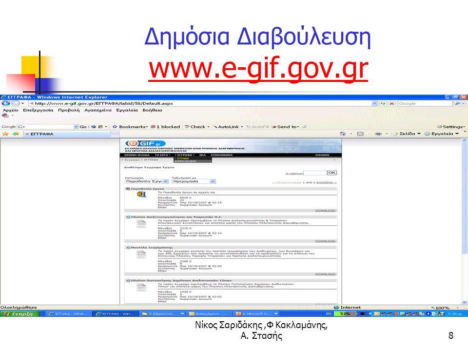 Νίκος Σαριδάκης,Φ Κακλαμάνης, Α. Στασής8 Δημόσια Διαβούλευση www.e-gif.gov.gr www.e-gif.gov.gr