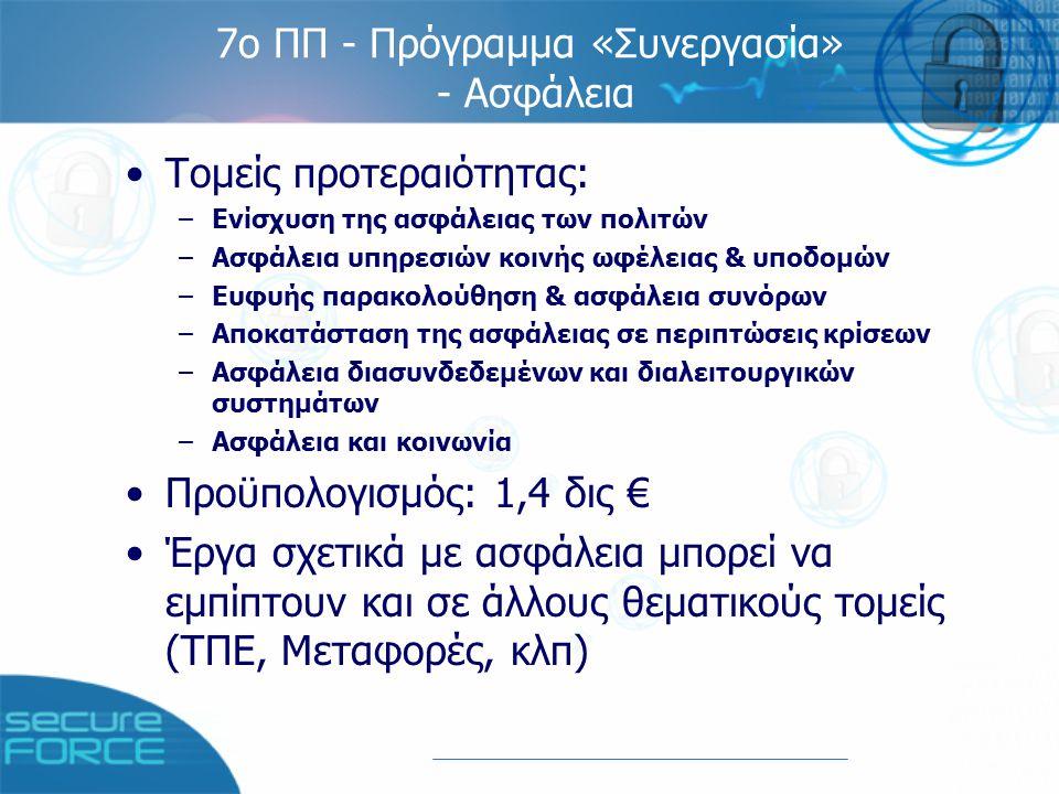 Επόμενη πρόσκληση: Joint Call ICT & Security 1 (FP7-ICT-SEC-2007-1) Δημοσίευση: 3/8/07 Προθεσμία: 29/11/07 Προϋπολογισμός: 40 εκ.