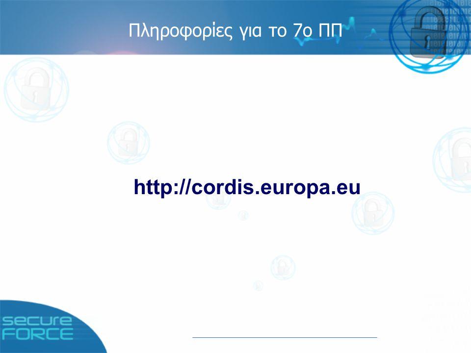 Έργο Secure-Force Στόχος: υποστήριξη Μικρομεσαίων Επιχειρήσεων για τη συμμετοχή τους στο 7ο Πρόγραμμα Πλαίσιο στον τομέα της ασφάλειας Διάρκεια: 1/1/2006 – 31/12/2008 Κοινοπραξία: 23 εταίροι από 14 ευρωπαϊκές χώρες Συντονιστής: Alma Consulting Group (Γαλλία) Ελλάδα: Ατλαντίς Συμβουλευτική Α.Ε.