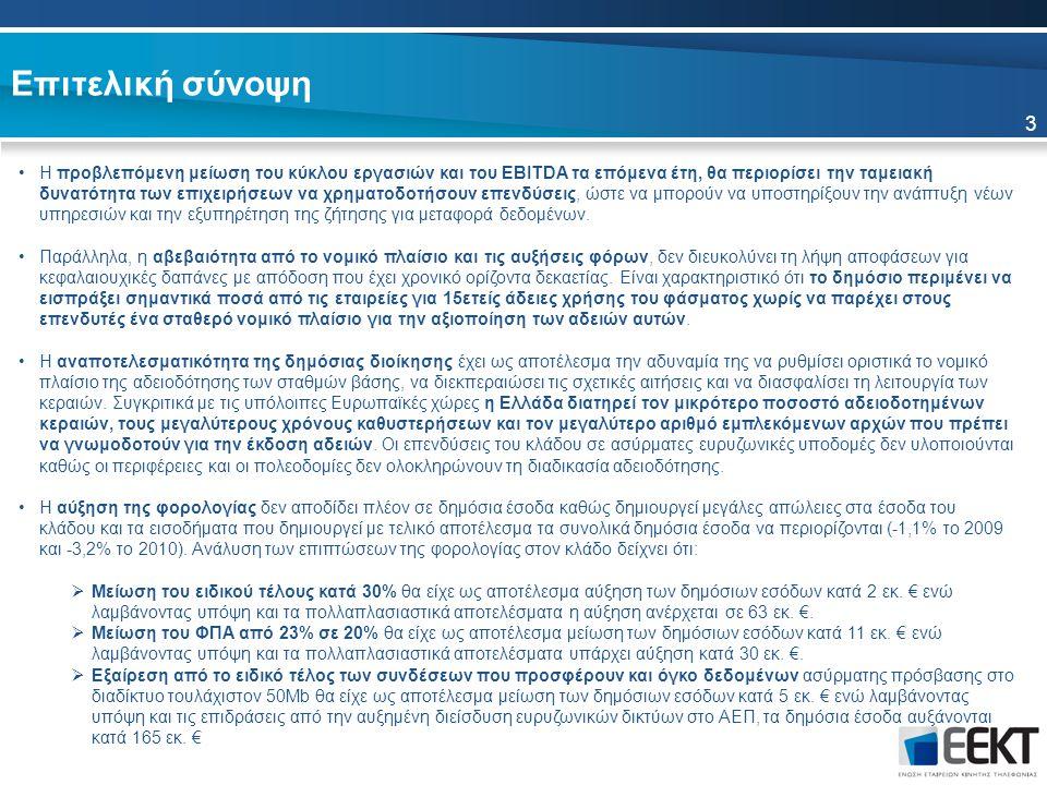 Επιτελική σύνοψη 3 Η προβλεπόμενη μείωση του κύκλου εργασιών και του EBITDA τα επόμενα έτη, θα περιορίσει την ταμειακή δυνατότητα των επιχειρήσεων να χρηματοδοτήσουν επενδύσεις, ώστε να μπορούν να υποστηρίξουν την ανάπτυξη νέων υπηρεσιών και την εξυπηρέτηση της ζήτησης για μεταφορά δεδομένων.