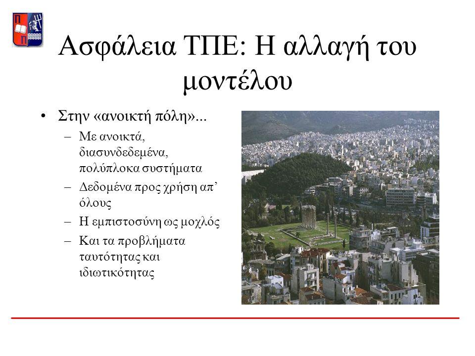 Ασφάλεια ΤΠΕ: Η αλλαγή του μοντέλου Στην «ανοικτή πόλη»...