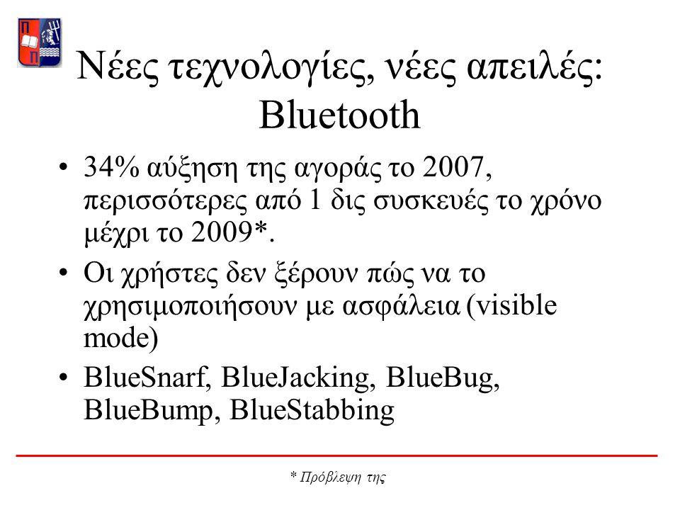 Νέες τεχνολογίες, νέες απειλές: Bluetooth 34% αύξηση της αγοράς το 2007, περισσότερες από 1 δις συσκευές το χρόνο μέχρι το 2009*.