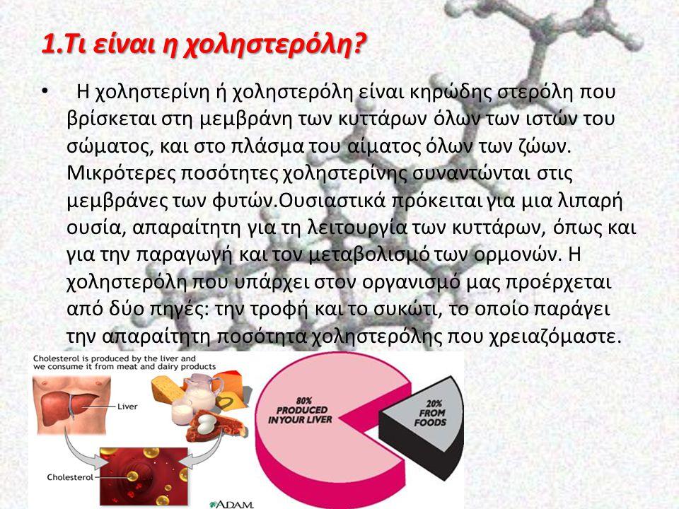 1.Τι είναι η χοληστερόλη? Η χοληστερίνη ή χοληστερόλη είναι κηρώδης στερόλη που βρίσκεται στη μεμβράνη των κυττάρων όλων των ιστών του σώματος, και στ