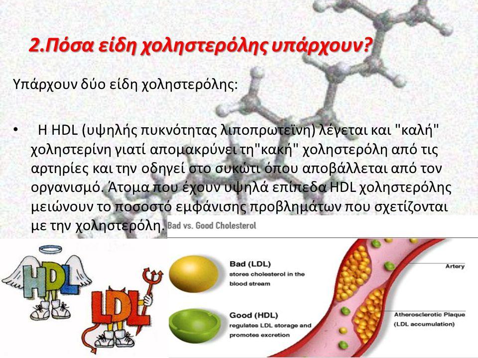 2.Πόσα είδη χοληστερόλης υπάρχουν? Υπάρχουν δύο είδη χοληστερόλης: Η HDL (υψηλής πυκνότητας λιποπρωτεϊνη) λέγεται και