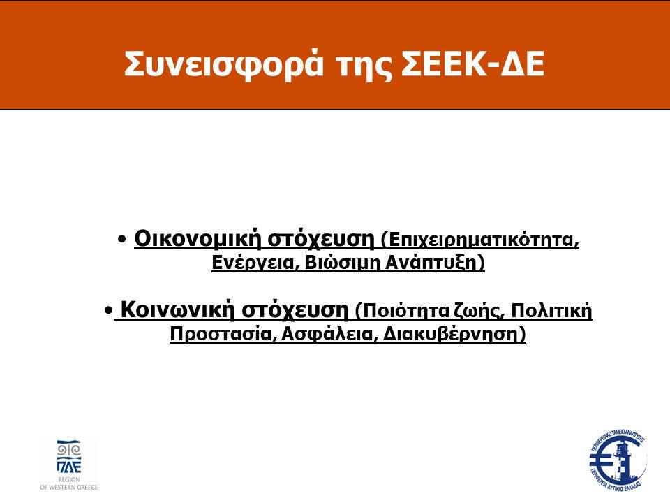 Συνεισφορά της ΣΕΕΚ-ΔΕ Οικονομική στόχευση (Επιχειρηματικότητα, Ενέργεια, Βιώσιμη Ανάπτυξη) Κοινωνική στόχευση (Ποιότητα ζωής, Πολιτική Προστασία, Ασφάλεια, Διακυβέρνηση)