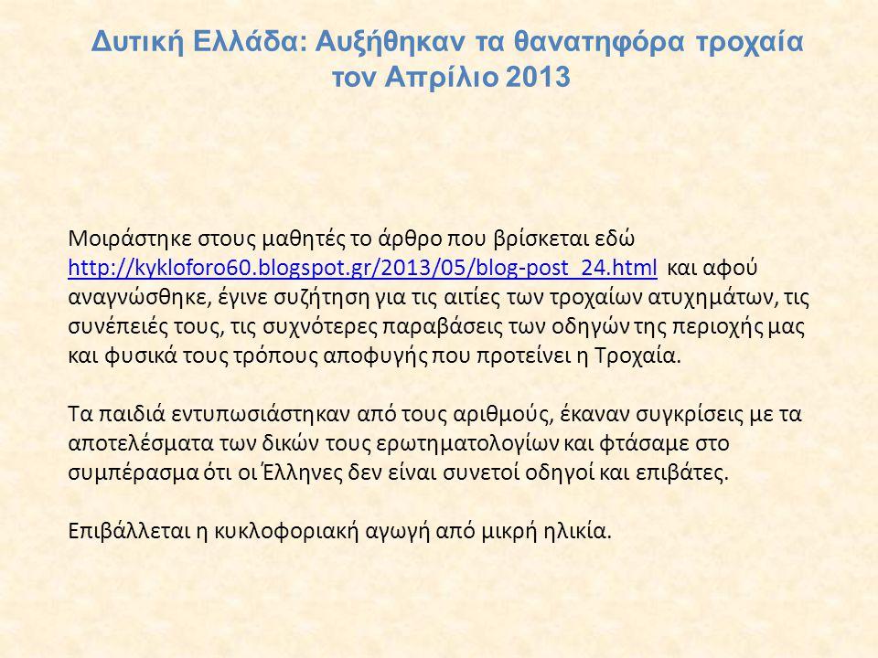 Μοιράστηκε στους μαθητές το άρθρο που βρίσκεται εδώ http://kykloforo60.blogspot.gr/2013/05/blog-post_24.html και αφού αναγνώσθηκε, έγινε συζήτηση για τις αιτίες των τροχαίων ατυχημάτων, τις συνέπειές τους, τις συχνότερες παραβάσεις των οδηγών της περιοχής μας και φυσικά τους τρόπους αποφυγής που προτείνει η Τροχαία.