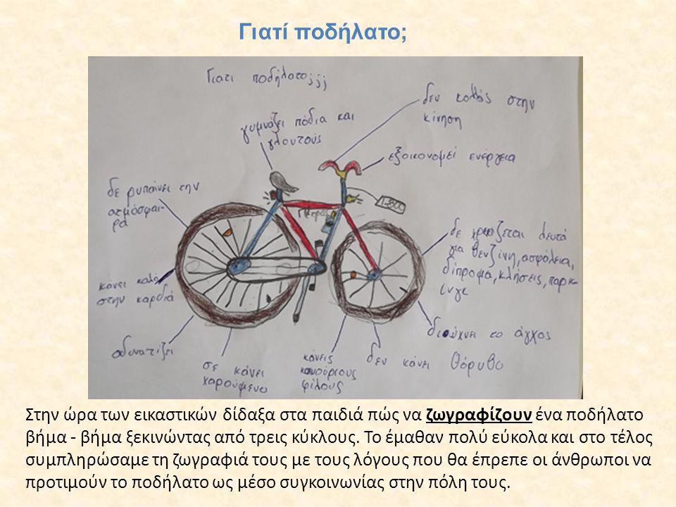 Γιατί ποδήλατο; Στην ώρα των εικαστικών δίδαξα στα παιδιά πώς να ζωγραφίζουν ένα ποδήλατο βήμα - βήμα ξεκινώντας από τρεις κύκλους. Το έμαθαν πολύ εύκ