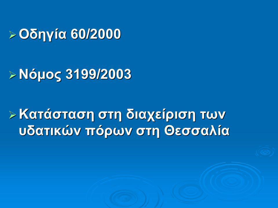  Oδηγία 60/2000  Νόμος 3199/2003  Κατάσταση στη διαχείριση των υδατικών πόρων στη Θεσσαλία