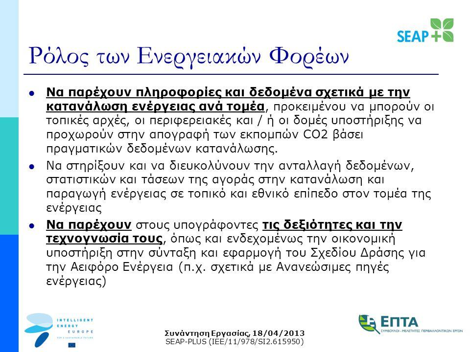 Συνάντηση Εργασίας, 18/04/2013 SEAP-PLUS (IEE/11/978/SI2.615950) Ρόλος των Ενεργειακών Φορέων Να παρέχουν πληροφορίες και δεδομένα σχετικά με την κατανάλωση ενέργειας ανά τομέα, προκειμένου να μπορούν οι τοπικές αρχές, οι περιφερειακές και / ή οι δομές υποστήριξης να προχωρούν στην απογραφή των εκπομπών CO2 βάσει πραγματικών δεδομένων κατανάλωσης.