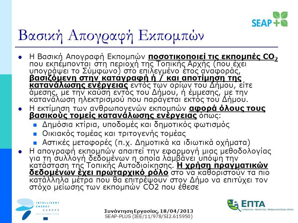 Συνάντηση Εργασίας, 18/04/2013 SEAP-PLUS (IEE/11/978/SI2.615950) Βασική Απογραφή Εκπομπών Η Βασική Απογραφή Εκπομπών ποσοτικοποιεί τις εκπομπές CO 2 που εκπέμπονται στη περιοχή της Τοπικής Αρχής (που έχει υπογράψει το Σύμφωνο) στο επιλεγμένο έτος αναφοράς, βασιζόμενη στην καταγραφή ή / και αποτίμηση της κατανάλωσης ενέργειας εντός των ορίων του Δήμου, είτε άμεσης, με την καύση εντός του Δήμου, ή έμμεσης, με την κατανάλωση ηλεκτρισμού που παράγεται εκτός του Δήμου.