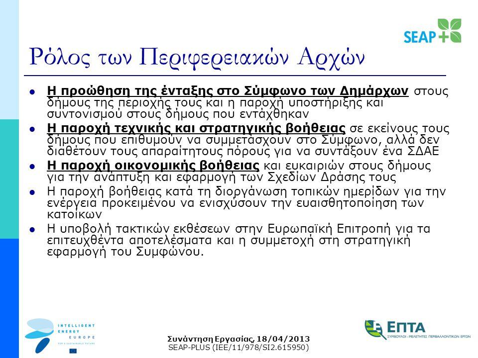 Συνάντηση Εργασίας, 18/04/2013 SEAP-PLUS (IEE/11/978/SI2.615950) Ρόλος των Περιφερειακών Αρχών Η προώθηση της ένταξης στο Σύμφωνο των Δημάρχων στους δήμους της περιοχής τους και η παροχή υποστήριξης και συντονισμού στους δήμους που εντάχθηκαν Η παροχή τεχνικής και στρατηγικής βοήθειας σε εκείνους τους δήμους που επιθυμούν να συμμετάσχουν στο Σύμφωνο, αλλά δεν διαθέτουν τους απαραίτητους πόρους για να συντάξουν ένα ΣΔΑΕ Η παροχή οικονομικής βοήθειας και ευκαιριών στους δήμους για την ανάπτυξη και εφαρμογή των Σχεδίων Δράσης τους Η παροχή βοήθειας κατά τη διοργάνωση τοπικών ημερίδων για την ενέργεια προκειμένου να ενισχύσουν την ευαισθητοποίηση των κατοίκων Η υποβολή τακτικών εκθέσεων στην Ευρωπαϊκή Επιτροπή για τα επιτευχθέντα αποτελέσματα και η συμμετοχή στη στρατηγική εφαρμογή του Συμφώνου.