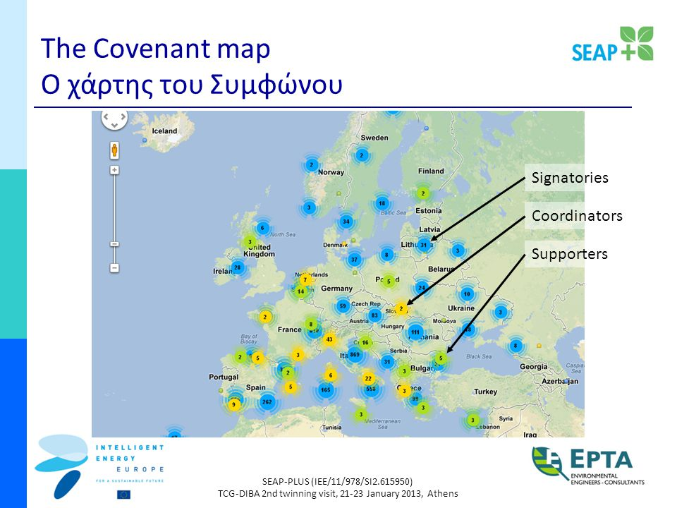 SEAP-PLUS (IEE/11/978/SI ) TCG-DIBA 2nd twinning visit, January 2013, Athens The Covenant map Ο χάρτης του Συμφώνου Signatories Coordinators Supporters
