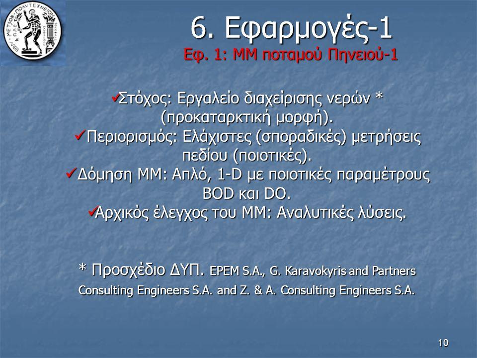 10 6. Εφαρμογές-1 Εφ. 1: ΜΜ ποταμού Πηνειού-1 6. Εφαρμογές-1 Εφ. 1: ΜΜ ποταμού Πηνειού-1 Στόχος: Εργαλείο διαχείρισης νερών * (προκαταρκτική μορφή). Σ
