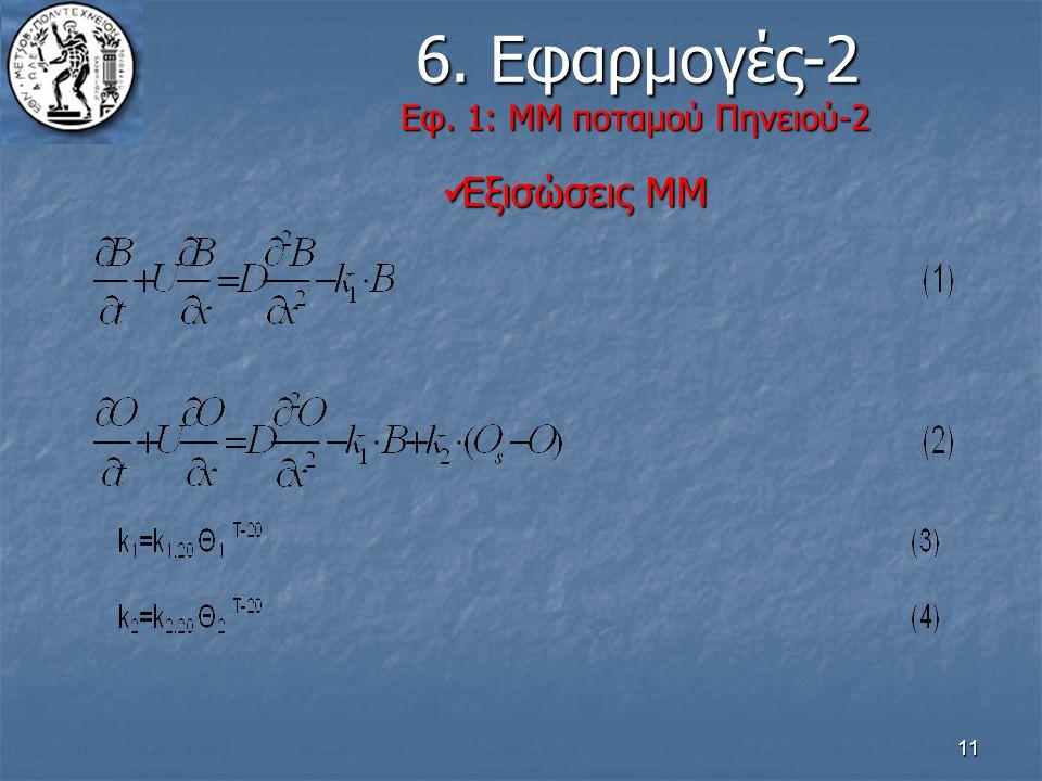 11 6. Εφαρμογές-2 Εφ. 1: ΜΜ ποταμού Πηνειού-2 6. Εφαρμογές-2 Εφ. 1: ΜΜ ποταμού Πηνειού-2 Εξισώσεις ΜΜ Εξισώσεις ΜΜ