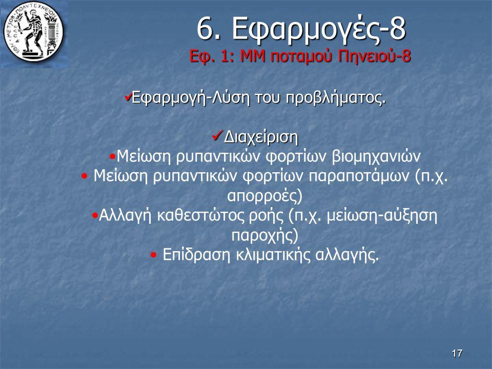 17 6. Εφαρμογές-8 Εφ. 1: ΜΜ ποταμού Πηνειού-8 6. Εφαρμογές-8 Εφ. 1: ΜΜ ποταμού Πηνειού-8 Εφαρμογή-Λύση του προβλήματος. Εφαρμογή-Λύση του προβλήματος.