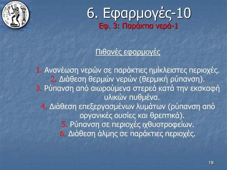 19 6. Εφαρμογές-10 Εφ. 3: Παράκτια νερά-1 6. Εφαρμογές-10 Εφ. 3: Παράκτια νερά-1 Πιθανές εφαρμογές 1.Ανανέωση νερών σε παράκτιες ημίκλειστες περιοχές.