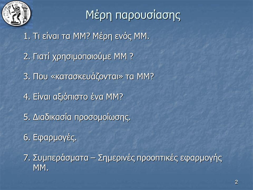 2 Μέρη παρουσίασης 1.Τι είναι τα ΜΜ? Μέρη ενός ΜΜ. 2.Γιατί χρησιμοποιούμε ΜΜ ? 3.Που «κατασκευάζονται» τα ΜΜ? 4.Είναι αξιόπιστο ένα ΜΜ? 5.Διαδικασία π