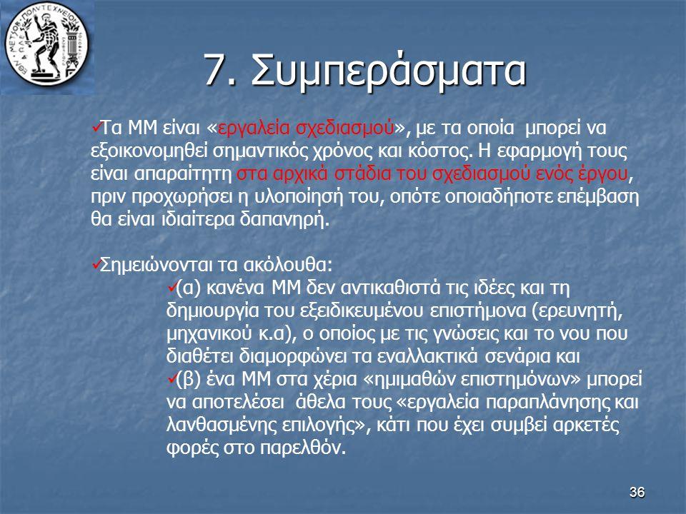 36 7. Συμπεράσματα Τα ΜΜ είναι «εργαλεία σχεδιασμού», με τα οποία μπορεί να εξοικονομηθεί σημαντικός χρόνος και κόστος. Η εφαρμογή τους είναι απαραίτη