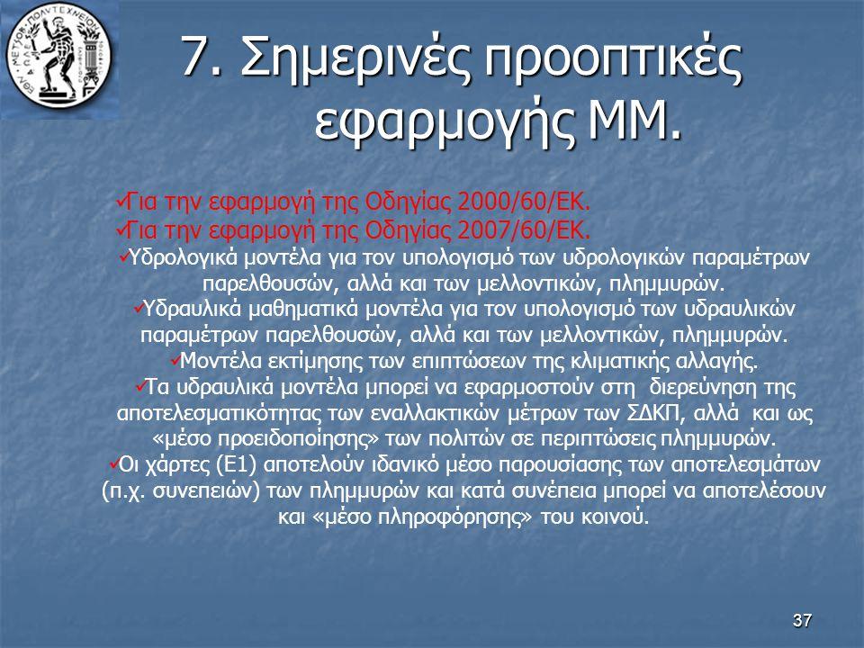 37 7. Σημερινές προοπτικές εφαρμογής ΜΜ. Για την εφαρμογή της Οδηγίας 2000/60/ΕΚ. Για την εφαρμογή της Οδηγίας 2007/60/ΕΚ. Υδρολογικά μοντέλα για τον