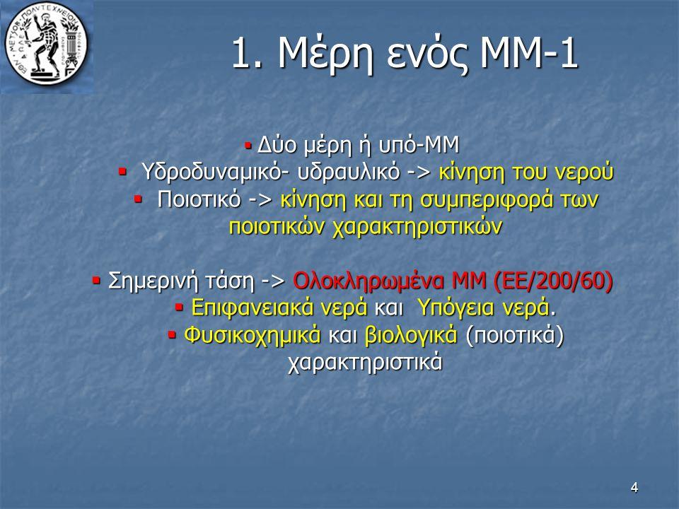4 1. Μέρη ενός ΜΜ-1  Δύο μέρη ή υπό-ΜΜ  Υδροδυναμικό- υδραυλικό -> κίνηση του νερού  Ποιοτικό -> κίνηση και τη συμπεριφορά των ποιοτικών χαρακτηρισ