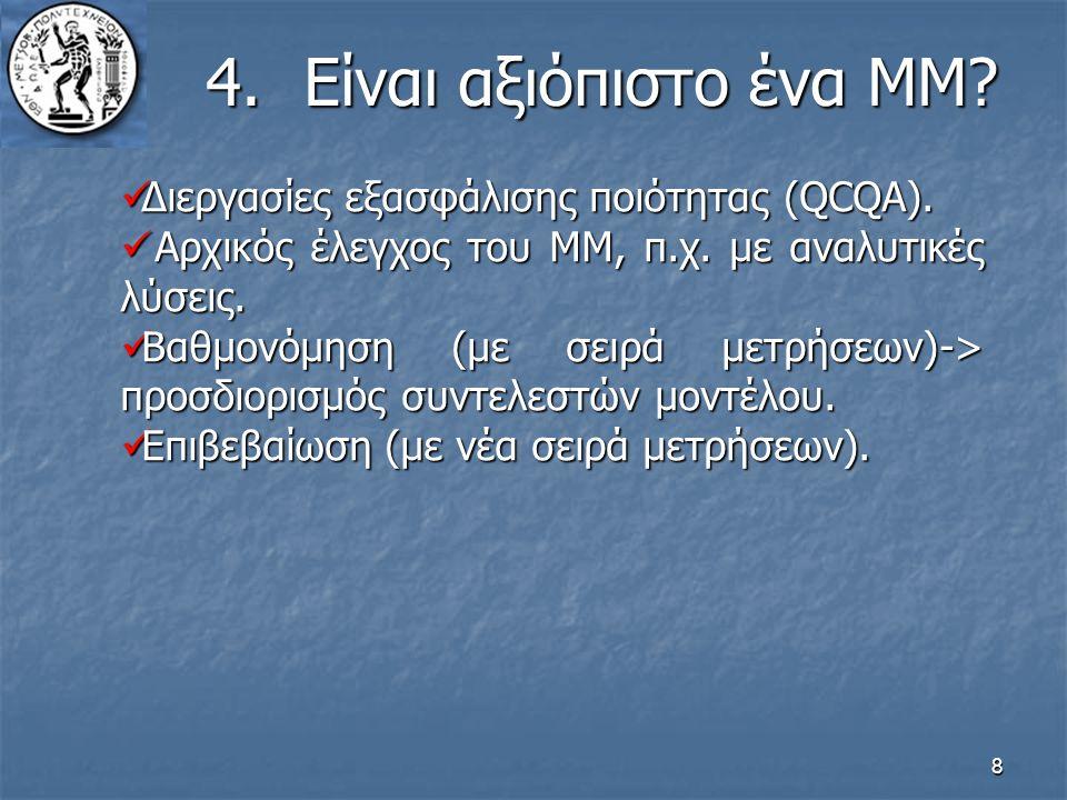 8 4.Είναι αξιόπιστο ένα ΜΜ? Διεργασίες εξασφάλισης ποιότητας (QCQA). Διεργασίες εξασφάλισης ποιότητας (QCQA). Αρχικός έλεγχος του ΜΜ, π.χ. με αναλυτικ