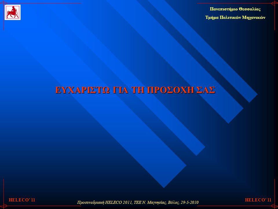 Προσυνεδριακή HELECO 2011, ΤΕΕ Ν. Μαγνησίας, Βόλος, 29-5-2010 Πανεπιστήμιο Θεσσαλίας Τμήμα Πολιτικών Μηχανικών HELECO' 11 ΕΥΧΑΡΙΣΤΩ ΓΙΑ ΤΗ ΠΡΟΣΟΧΗ ΣΑΣ