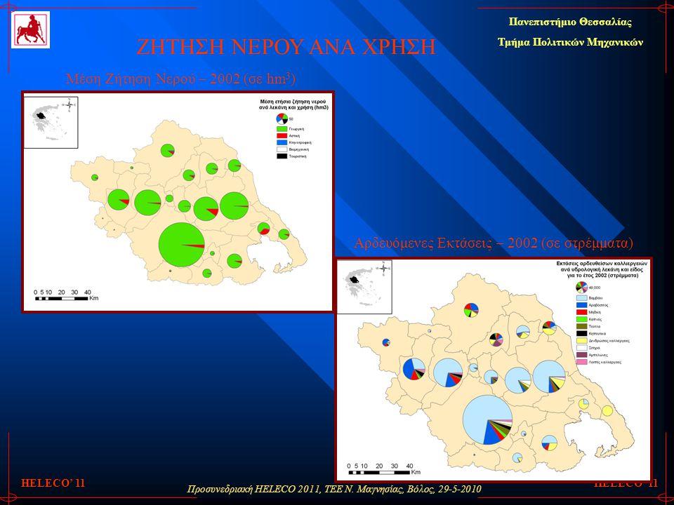 Προσυνεδριακή HELECO 2011, ΤΕΕ Ν. Μαγνησίας, Βόλος, 29-5-2010 Πανεπιστήμιο Θεσσαλίας Τμήμα Πολιτικών Μηχανικών HELECO' 11 ΖΗΤΗΣΗ ΝΕΡΟΥ ΑΝΑ ΧΡΗΣΗ Αρδευ